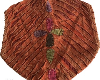 Orange Flower Headband - Bohemian Headband - Boho Head Wrap - Fair Trade - Wide Headband - Hippie Headwrap
