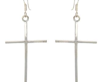 Sterling Silver Cross Drop Earrings - Fair Trade - Handmade Earrings - Sterling Earrings