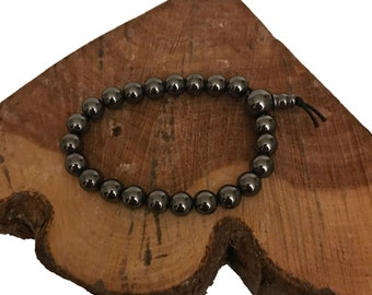 Hematite Power Bead Bracelet - Hematite Bead Bracelet - Hematite Bracelets