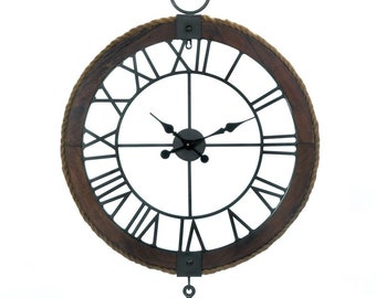 Industrial Round Wall Clock - Wall Clock - Industrial Wall Clock - Large Wall Clock - Wood Clock - Rustic Clock -  Home Decor - Clocks