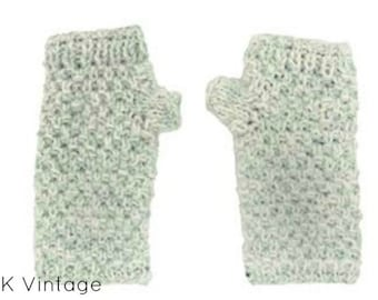 Blue and White Wool Knit Hand-warmers - Hand-warmers - Knit Mittens - Finger-less Gloves - Knit Gloves -  Wool Gloves - Wool Mittens