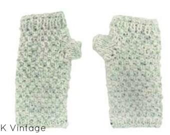 Blue & White Wool Hand-warmers - Fair Trade - Arm Warmers - Fingerless Gloves