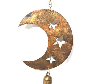Moon & Cutout Stars Chime - Wind Chimes - Wind Bell - Garden Decoration - Fair Trade - Home Décor