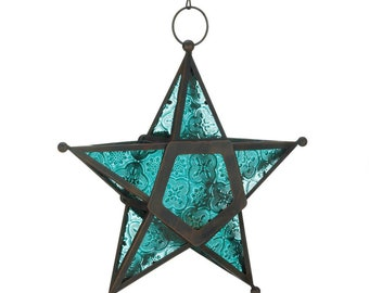 Blue Glass Star Lantern - Lighting - Lanterns - Lantern - Home & Living - Home Decor - Home Accessories