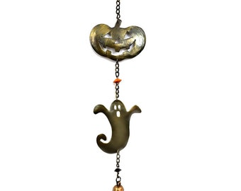 "Halloween Friends Chime 17""l - Pumpkin Wind Chimes - Indoor Chimes -  Ghost Wind Chimes - Fair Trade"
