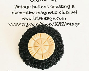 Cream & Black Crochet Button Brooch Pin - Magnetic Pin - Button Jewelry - Brooches