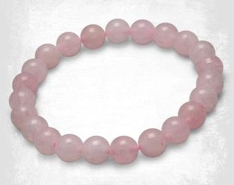 Rose Quartz Gemstone Bracelet - Rose Quartz Bead Bracelet - Stone Bracelet - Gemstone Bracelet - Rose Quartz  - Beaded Bracelet