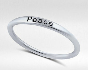 "Sterling Silver ""PEACE"" Band Ring - 1.5mm Rings - Inspiring Rings - Stamped Rings"