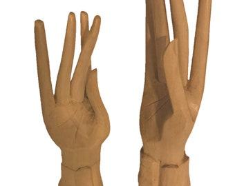 Set of 2 Light Wood Carved Standing Hands - Wood Sculpture - Wooden Hands Sculpture - Fair Trade
