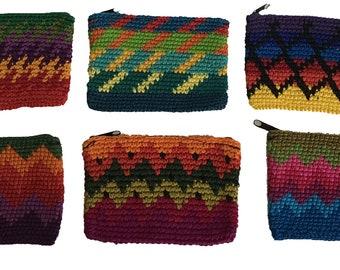 Rectangular Crochet Coin Purse - Fair Trade - Change Purse - Coin Pouch - Multicolor - Crochet Pouch