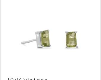 Emerald Cut Peridot Post Earrings -  Peridot Earrings - Peridot Jewelry - Peridot Post Earrings - August Birthstone