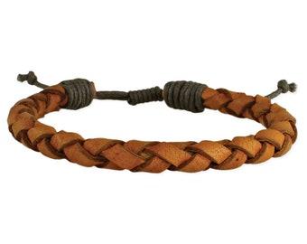 Men's Leather Brown Braided Bracelet - Men Leather Bracelet - Leather Bracelet - Men Leather Jewelry