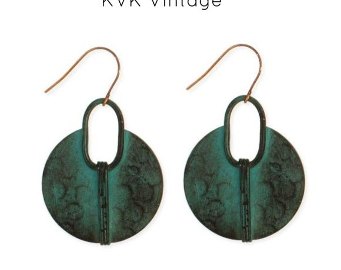 Featured listing image: Hammered Green Patina Round Earrings - Earrings - Dangle Earrings - Drop Earrings - Round Earrings - Green Earrings - Bohemian Earrings