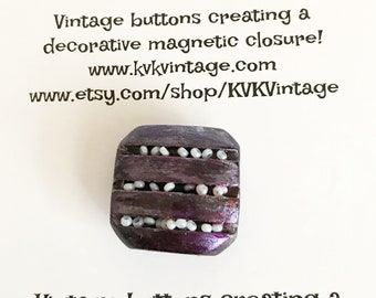 Purple & White Painted Button Brooch Pin - Magnetic Pin - Button Jewelry - Brooches