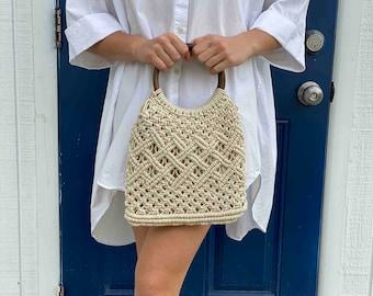 Macramé Bag with Dark Wooden Handle - Macramé Bags - Fair Trade - Handbags