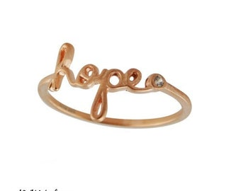 "Rose Gold ""HOPE"" Band Ring - Dainty Rings - 1.5mm Rings - Inspirational Rings - Script Rings - Inspiring Jewelry"
