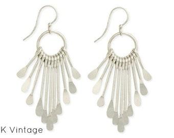 Silver Paddle Fringe Earrings - Bohemian Earrings - Dangle Earrings - Chandelier Earrings - Bohemian Jewelry