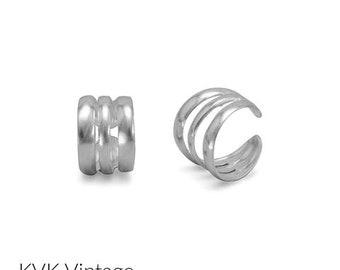 Polished  3 Row Ear Cuffs - Earrings - Cuff Earrings - Wrap Earrings - Ear Cuffs - Sterling Ear Cuffs - Body Jewelry - Silver Cuff Earrings