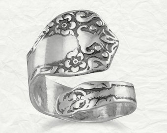 Floral Oxidized Spoon Ring - Spoon Ring - Sterling Silver Spoon Ring - Oxidized Spoon Ring - Spoon Jewelry - Floral Spoon Ring