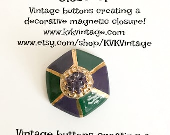 Purple Green & Gold Painted Button Brooch Pin - Magnetic Pin - Button Jewelry - Brooches