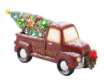 Light-Up Red Truck with Wreath - Holiday Accents - Holiday Decor - Home Decor - Ornaments - Holiday Accents - Christmas Decorations