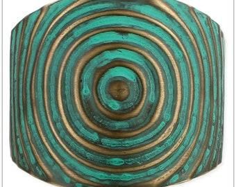 Gold & Green Circles Cuff Bracelet - Boho Jewelry - Boho Bracelet - Hippie Jewelry - Cuff Bracelet - Antique Patina Cuff