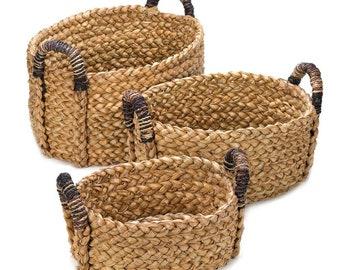 Woven Rustic Nesting Baskets - Basket - Baskets - Rustic Baskets - Woven Baskets - Nesting Baskets - Set of 3 Baskets - Home Decor