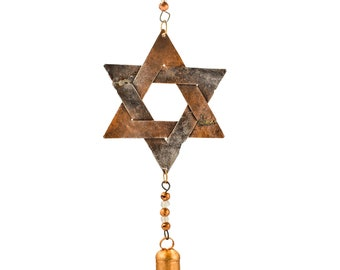 Star of David Chime - Wind Chimes - Chimes - Recycled Metal - Garden Decoration - Fair Trade -  Home Decor -  Star of David - Metal Chime