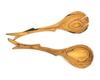 Rustic Twig Olive Wood Serving Set -  Fair Trade - Serving Utensils - Wooden Salad Spoons - Hardwood