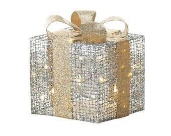 Large Light Up Gift Box Decor - Holiday Decor - Holiday Accents - Holiday Decorating - Ornaments -  Christmas Decorations