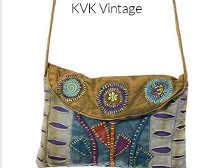Featured listing image: Flower Embroidered Crossbody Body Bag - Sling Bags - Fair Trade Bags - Bohemian Shoulder Bag