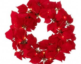 Fairy Lights Poinsettia Wreath - Poinsettia Wreath - Christmas -  Wreath - Holiday