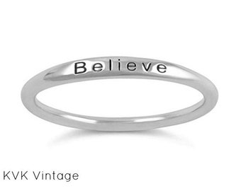 """Sterling Silver """"BELIEVE"""" Ring - Band Ring - Believe Ring - Word Ring - 1.5mm Sterling Silver Ring - Stamped  Ring - Inspiring Ring"""