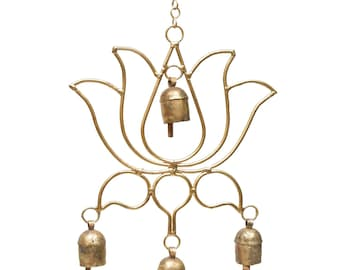 Blooming Lotus Chime - Wind Chimes - Chimes - Recycled Metal - Garden Decoration - Fair Trade -  Lotus Flower - Metal Chimes - Home Decor