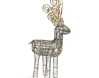 Gold Antler Wrapped Wire Reindeer - Home Décor - Reindeer Wire Sculpture - Fair Trade