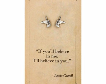 Literary Quote Unicorn Post Earrings - Lewis Carroll Quote - Book Quote Earrings - Bookworm Earrings - Stud Earrings - Literary Jewelry