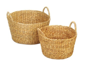 Woven Wicker Basket Duo - Baskets - Storage - Organization - Home Decor - Wicker Baskets - Set of Two Baskets
