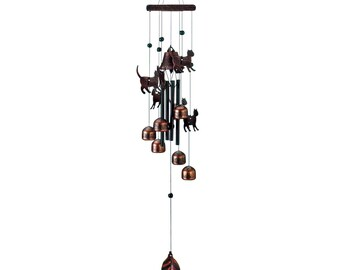 """Bronze Cat Wind Chimes 26"""" - Wind Chimes - Chimes - Garden Decoration - Home Decor -  Animal Wind chimes - Cat Wind Chimes - Cat Chimes"""