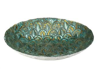 Abstract Peacock Decorative Bowl - Decorative Bowls - Bowls - Home Decor - Home and Living -  Glass Bowls - Artisan Bowls