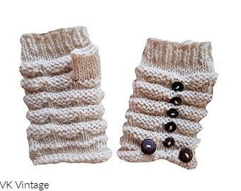 Off White Wool Knit Button Hand-warmers - Hand-warmers - Knit Mittens - Finger-less Gloves -  Wool Gloves - Wool Mittens - Gloves - Mittens