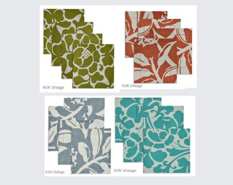 Frangipani Fabric Coasters (Set of 4) - Fair Trade - Cotton Fabric Coasters - Silk Screen