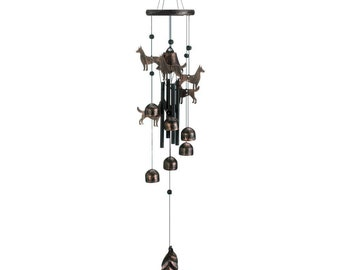 "Bronze Dogs Wind Chimes 26"" - Wind Chimes - Chimes - Wind Chime - Garden Decoration - Outdoor Living -  Animal Windchimes - Dog Windchimes"