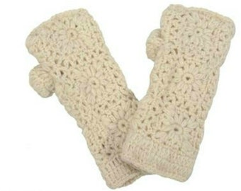 Cream Wool Knit Hand-warmers - Hand-warmers - Knit Mittens - Finger-less Gloves - Knit Gloves - Wool Gloves - Wool Mittens