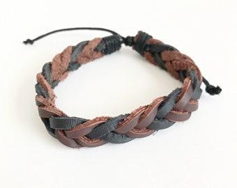 Black & Brown Braided Leather Men's Bracelet - Men's Woven Bracelets - Men's BOHO Bracelets