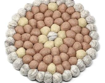 Rose Quartz Flower Felt Ball Trivet - Wool Trivets - Fair Trade - Trivets - Kitchen & Dining