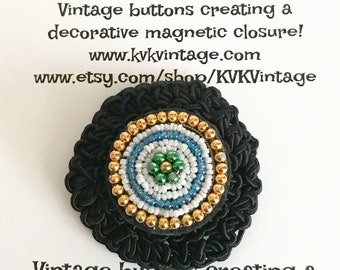 Bead & Black Crochet Button Brooch Pin - Magnetic Pin - Button Jewelry - Brooches