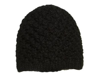 Black Textured Wool Hand Knit Cap - Knit Hats - Hats - Wool Hats - Wool Caps - Fall Hats - Winter Hats -  Skull Caps - Beanies