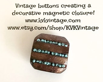 Brown & Blue Painted Button Brooch Pin - Magnetic Pin - Button Jewelry - Brooches