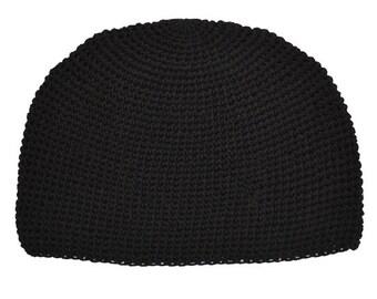 Black Kufi Skull Cap - Crocheted Beanie Hat - Fair Trade