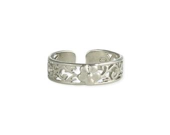 Silver Flower Toe Ring - Toe Rings - Adjustable Toe Rings - Body Jewelry